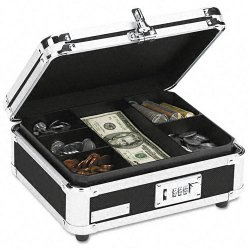 IdeaStream - VZ01002 - Plastic & Steel Cash Box w/Tumbler Lock, Black & Chrome