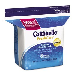 Kimberly-Clark - 10358CT - Fresh Care Flushable Cleansing Cloths, White, 5x7 1/4, 168/Pack, 8 Pack/Carton