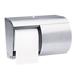 "Kimberly-Clark - 09606 - Kimberly-Clark CorelessDouble Roll Tissue Dispenser - Coreless Dispenser - 2 x Roll - 7.1"" Height x 10.1"" Width x 6.4"" Depth - Stainless Steel - Clear - Durable, Hinged Door, Key Lock"