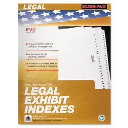 "Kleer-Fax - 81006 - 80000 Series Legal Index Dividers, Side Tab, Printed ""Exhibit F"", 25/Pack"