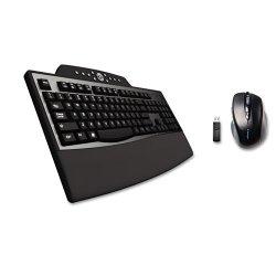 Kensington - K72403US - Kensington Pro Fit Keyboard & Mouse - USB Wireless RF Keyboard - Black - USB Wireless RF Mouse - 2 Button - Scroll Wheel - Black - Right-handed Only