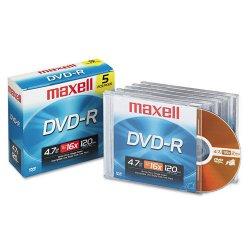 Maxell - 638000 - Maxell DVD Recordable Media - DVD-R - 16x - 4.70 GB - 1 Pack Jewel Case - 120mm - 2 Hour Maximum Recording Time