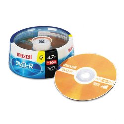 Maxell - 638006 - Maxell 16x DVD-R Media - 120mm - Single-layer Layers - 2 Hour Maximum Recording Time