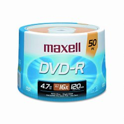 Maxell - 638011 - Maxell DVD Recordable Media - DVD-R - 16x - 4.70 GB - 50 Pack Spindle - 120mm