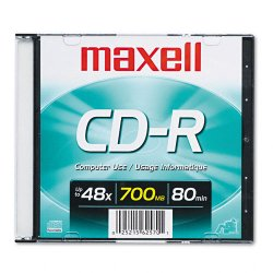 Maxell - 648201 - Maxell CD Recordable Media - CD-R - 48x - 700 MB - 1 Pack Slim Jewel Case - 120mm