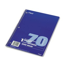Acco Brands - 05510 - Spiral Bound Notebook, Perforated, Legal Rule, 10 1/2 x 7 1/2, White, 70 Sheets
