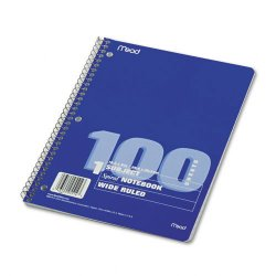 Acco Brands - 05514 - Spiral Bound Notebook, Perforated, Legal Rule, 10 1/2 x 7 1/2 White, 100 Sheets