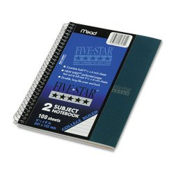 Acco Brands - 06180 - Wirebound 2-Subject Notebook, College Rule, 9 1/2 x 6, 100 Sheets, Assorted