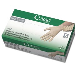 Medline - 6CUR9224 - Medline Powder-free Stretch Vinyl Exam Gloves - Small Size - Vinyl - Cream - Stretchable, Powder-free, Latex-free, Non-sterile, Beaded Cuff - For Multipurpose - 150 / Box