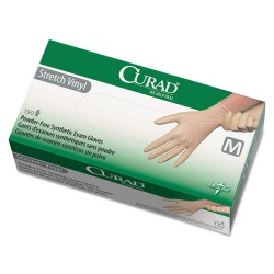 Medline - 6CUR9225 - Medline Powder-free Stretch Vinyl Exam Gloves - Medium Size - Vinyl - Cream - Stretchable, Powder-free, Latex-free, Non-sterile, Beaded Cuff - For Multipurpose - 150 / Box