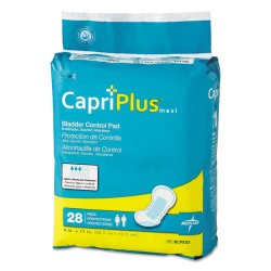 Medline - BCPE03CT - Capri Plus Bladder Control Pads, Ultra Plus, 8 x 17, 28/Pack, 6/Carton