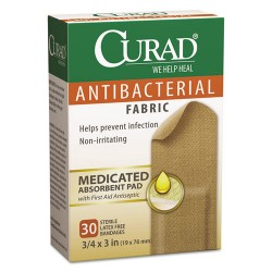 Medline - CUR47255RB - Flex Fabric Antibacterial Bandages, 3/4 x 3, 30/Box