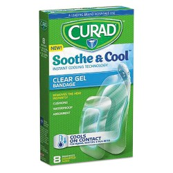 Medline - CUR5235 - Soothe & Cool Clear Gel Bandages, 1.8 x 2.96, Clear, 8/Box