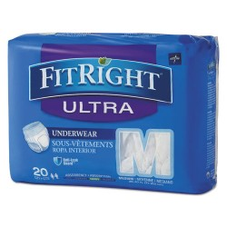 Medline - FIT23005ACT - FitRight Ultra Protective Underwear, Medium, 28-40 Waist, 20/Pack, 4 Pack/Ctn
