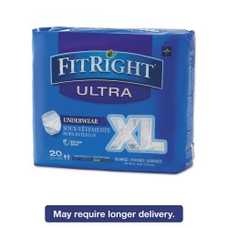 Medline - FIT23600A - FitRight Ultra Protective Underwear, X-Large, 56-68 Waist, 20/Pack