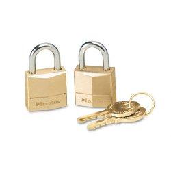 Master Lock - 120T - Three-Pin Brass Tumbler Locks, 3/4 Wide, 2 Locks & 2 Keys, 2/Pack
