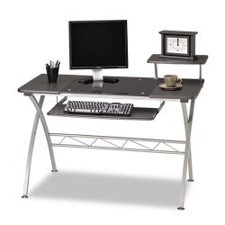 Mayline - 972ANT - Mayline 972 Vision Computer Desk - 47.25 Table Top Width x 23.75 Table Top Depth - 34 Height - Assembly Required - Anthracite, Laminated, Metallic Gray, Powder Coated