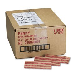 MMF Industries - 216020007 - Flat Coin Wrappers, Pennies, $.50, 1000 Wrappers/Box