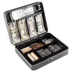 MMF Industries - 2216190G2 - Cash Box w/Combination Lock, Charcoal