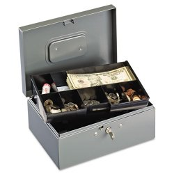 MMF Industries - 221F15TGRA - Extra Large Cash Box with Handles, Key Lock, Gray