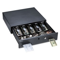 MMF Industries - 225-1060-01 - Mmf, Manual Button Cash Drawer, 17.75 X 15.75 X 3.75, Black, With Bell, Locking Tray Cover, Under Counter Brackets Included