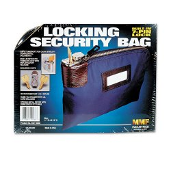 MMF Industries - 233110808 - MMF Locking Security Bag With Label Holder - 8.50 Width x 11 Length - Navy - Nylon - 1Each - Deposit