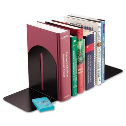 MMF Industries - 241017104 - MMF Fashion Steel Bookends - 7 Height x 5.9 Width x 5 Depth - Desktop - Recycled - Black - Steel - 1 / Pair