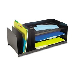 MMF Industries - 264202004 - MMF 7-Compartment Legal-Size Organizer - 7 Compartment(s) - 8.1 Height x 25.9 Width x 11 Depth - Recycled - Black - Steel - 1Each