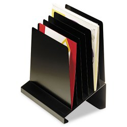 MMF Industries - 264R806BK - MMF Quick View Slanted Vert. Organizers - 6 Compartment(s) - 11.5 Height x 7.3 Width x 11 Depth - Desktop - Recycled - Black - Steel - 1Each