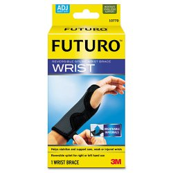 "3M - 10770EN - Futuro Adjustable Reversible Splint Wrist Brace - Adjustable, Comfortable, Ergonomic Design, Hook & Loop Closure, Breathable, Latex-free, Reversible - 5.5"" - Black"