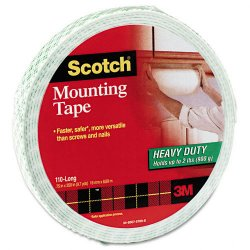 3M - 110LONG - Scotch Mounting Tape, 3/4 x 350 - 0.75 Width x 29.17 ft Length - 1 Core - Foam - Permanent Mounting - 1 Roll - White