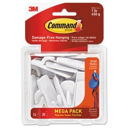 3M - 17002MPES - Command Damage-Free Small Hooks Mega Pack - 1 lb (453.6 g) Capacity - for Multipurpose - White - 24 / Pack