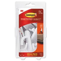 3M - 17003MPES - Command Damage-Free Large Hooks Mega Pack - 14 Hooks - 14 Large Hook - 5 lb (2.27 kg) Capacity - for Multipurpose, Paint, Wood, Tile - Plastic - White - 20 / Pack