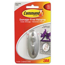 3M - 17051BN - Command Decorative Hooks, Medium, Brushed Nickel, 3lb Capacity, 1 Pack - 1 Medium Hook - 3 lb (1.36 kg) Capacity - Plastic - Brushed Nickel - 1 / Pack