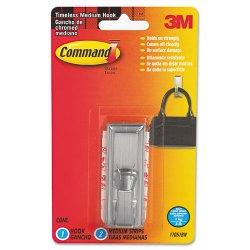 3M - 17061BN - Command Brushed Nickel Timeless Medium Hook - 1 Medium Hook - 3 lb (1.36 kg) Capacity - Plastic - Metallic Silver - 1 Pack