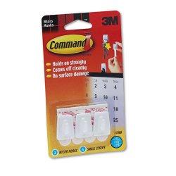 3M - 17066 - Command Micro Hooks - 8 oz (226.8 g) Capacity - Plastic - White, 3 Hooks, 4 Strips/Pack