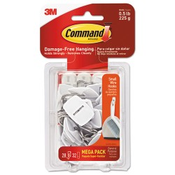 3M - 17067MPES - Command Damage-Free Small Wire Hooks Mega Pack - 28 Hooks - 28 Small Hook - 8 oz (226.8 g) Capacity - for Multipurpose, Paint, Wood, Tile - White - 28 / Pack