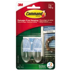 3M - MMM17091CRAWES - All Weather Hooks and Strips, Plastic, Medium, 2 Hooks & 4 Strips/Pack