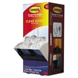 3M - 17091CLRCABPK - Clear Hooks & Strips, Plastic, Medium, 50 Hooks w/50 Adhesive Strips per Carton