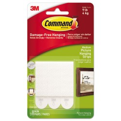 3M - 17201ES - Command Medium Adhesive Picture Hanging Strips - 0.75 Width x 2 Length - Foam - Residue-free - 3 / Pack - White