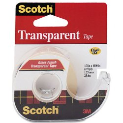 3M - 174 - Scotch Transparent Tape Refillable Dispensers - 0.50 Width x 83.33 ft Length - 1 Core - Acrylate - Non-yellowing, Photo-safe, Transparent, Glossy - Dispenser Included - 1 Roll - Clear
