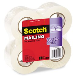 3M - 38424 - Scotch Tear-By-Hand Mailing Packaging Tape 2 x 50 Yds - 1.88 Width x 50 yd Length - 1.50 Core - Synthetic Rubber Resin - 4 / Pack - Clear