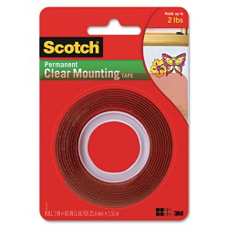 3M - 410P - Double-Sided Mounting Tape, Industrial Strength, 1 x 60, Clear/Red Liner