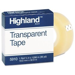 3M - 5910 - 3M Highland Transparent Tape, Boxed 3/4in x 36yd