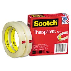 3M - 600-2P12-72 - Scotch Transparent Tape, 1/2 x 2592 - 0.50 Width x 72 yd Length - 3 Core - Photo-safe, Non-yellowing, Transparent, Glossy - 2 / Pack - Clear