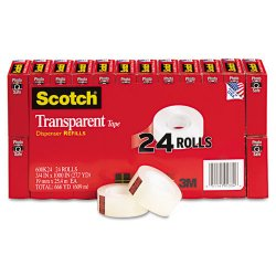 3M - 600K24 - Scotch Transparent Tape, 3/4 x 1000 - 0.75 Width x 83.33 ft Length - 1 Core - Photo-safe, Transparent, Glossy - 24 / Pack - Clear