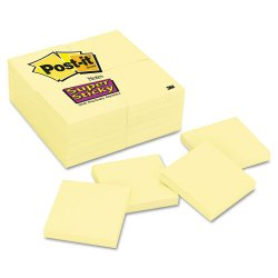 3M - 654-24SSCY - Canary Yellow Note Pads, 3 x 3, 90-Sheet, 24/Pack