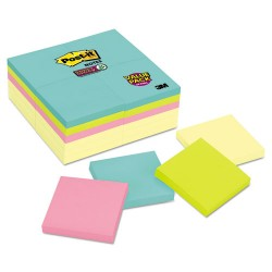 3M - 654-24SSCYM - Note Pads Office Pack, 3 x 3, Canary/Miami, 90/Pad, 24 Pads/Pack