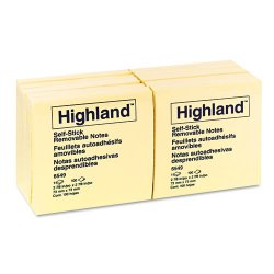 3M - 6549 - 3M Highland Sticky Notes, Yellow, 3in x 3in, 100sht/pd, 12/pk