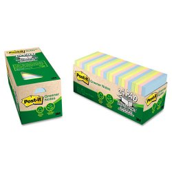 3M - 654R24CPAP - Post-it Greener Notes Original Recycled Pads in Cabinet Packs (Pack of 24)